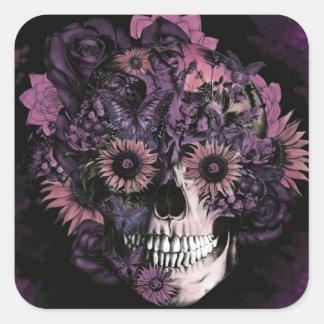 Cráneo púrpura del ohmio con las salpicaduras de pegatina cuadrada