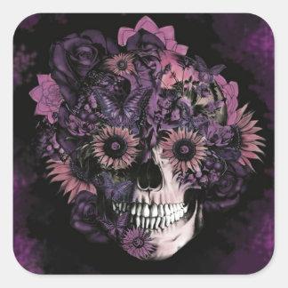 Cráneo púrpura del ohmio con las salpicaduras del pegatina cuadrada