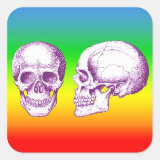 Cráneo púrpura del ser humano de la parte pegatina cuadrada