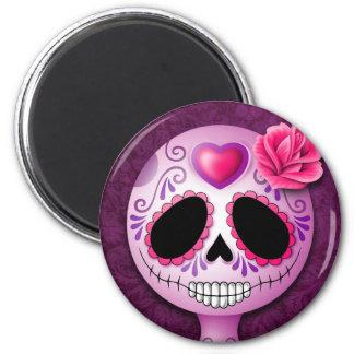Cráneo púrpura lindo del azúcar imán redondo 5 cm