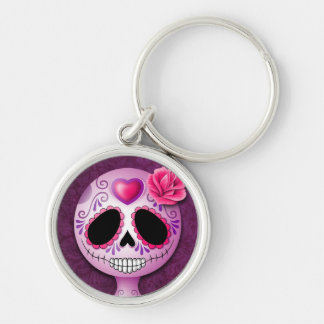 Cráneo púrpura lindo del azúcar llaveros personalizados