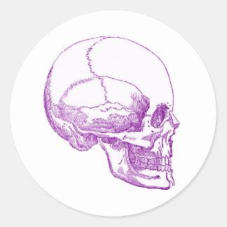 cráneo púrpura pegatinas redondas