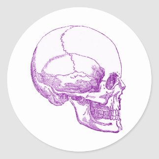 cráneo púrpura pegatina redonda