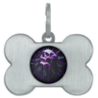 Cráneo púrpura placas de nombre de mascota