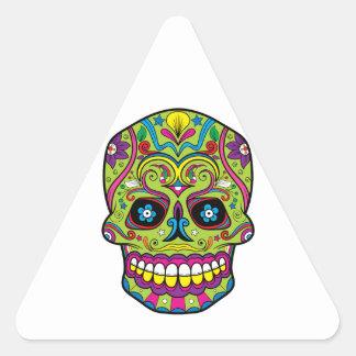 Cráneo púrpura rosado verde del azúcar del tatuaje pegatina triangular