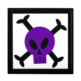 Cráneo púrpura y bandera pirata Giftbox Caja De Recuerdo