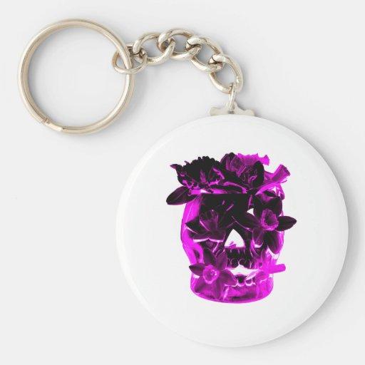 Cráneo púrpura y negro de la flor llaveros personalizados