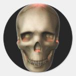 Cráneo que brilla intensamente Halloween del KRW Pegatina Redonda