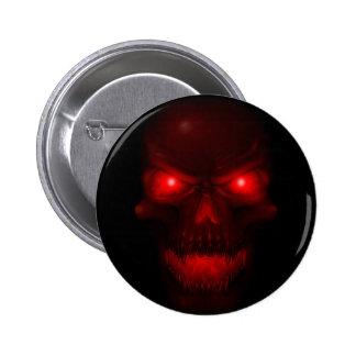 Cráneo que brilla intensamente rojo pin redondo de 2 pulgadas