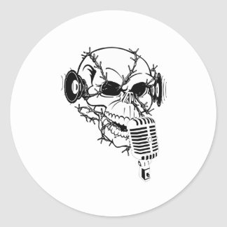 Cráneo que canta personalizable americana pegatina redonda