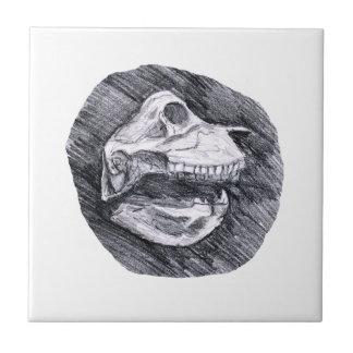 Cráneo que dibuja bosquejo animal imaginario azulejo cuadrado pequeño