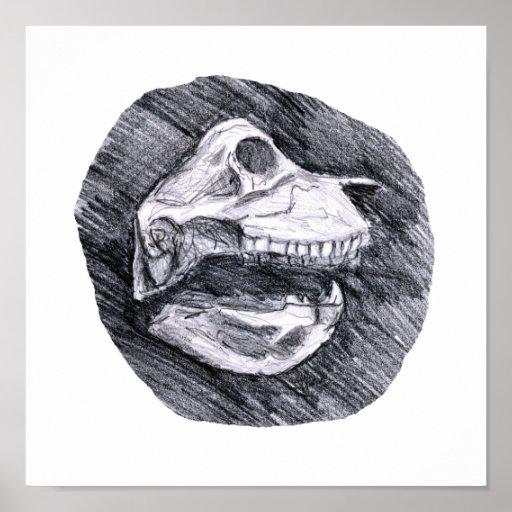 Cráneo que dibuja bosquejo animal imaginario posters