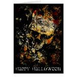 Cráneo que erosiona del feliz Halloween Felicitación