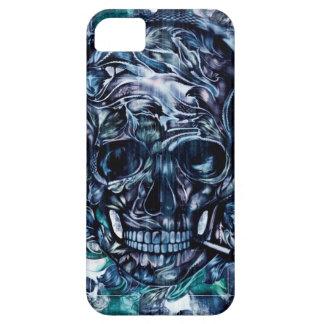 Cráneo que fuma azul con el dibujo de los funda para iPhone 5 barely there