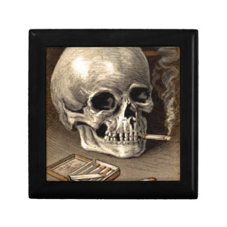 Cráneo que fuma caja de joyas