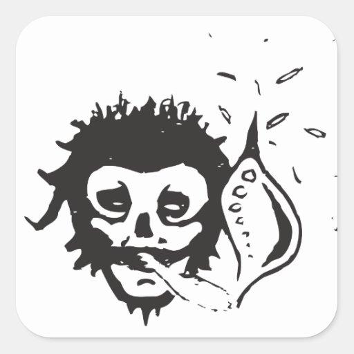 cráneo que fuma calcomania cuadrada personalizada
