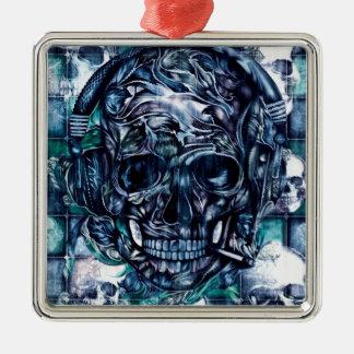 Cráneo que fuma con los auriculares ornamentos de navidad