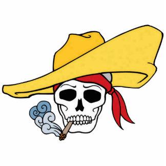 Cráneo que fuma de Halloween con el dibujo animado Llavero Fotográfico