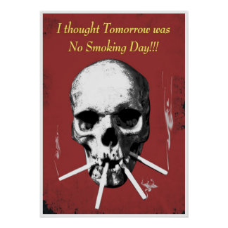 Cráneo que fuma póster
