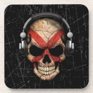 Cráneo rasguñado de Alabama DJ con los auriculares Posavasos
