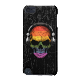 Cráneo rasguñado de DJ del arco iris del orgullo Funda Para iPod Touch 5G