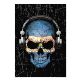 """Cráneo rasguñado de El Salvador DJ con los Invitación 3.5"""" X 5"""""""