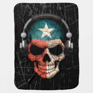 Cráneo rasguñado de Tejas DJ con los auriculares Mantita Para Bebé