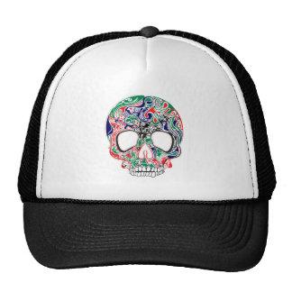 Cráneo retro abstracto colorido del azúcar gorro de camionero