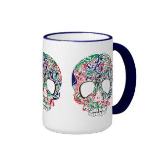 Cráneo retro abstracto colorido del azúcar taza de dos colores