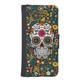 Cráneo retro colorido del azúcar de las flores funda billetera para teléfono