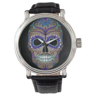 Cráneo retro colorido del azúcar relojes de mano