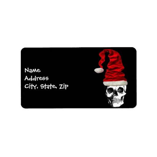 Cráneo retro de Santa del navidad Etiquetas De Dirección