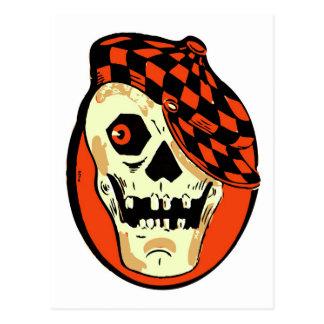 Cráneo retro del coche de carreras de Halloween Tarjetas Postales