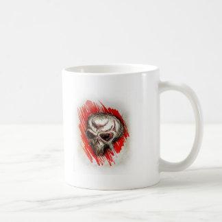 cráneo rojo 2 taza básica blanca
