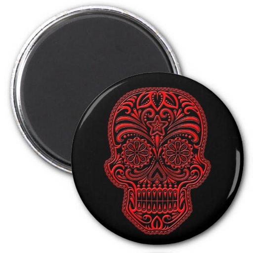 Cráneo rojo complejo del azúcar en negro imán de frigorifico