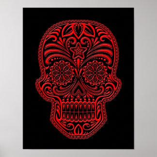 Cráneo rojo complejo del azúcar en negro póster