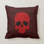 Cráneo rojo de las flores salvajes almohadas