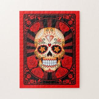 Cráneo rojo del azúcar con el poster de los rosas puzzles