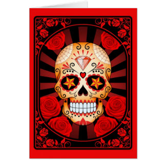 Cráneo rojo del azúcar con el poster de los rosas felicitaciones