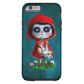 Cráneo rojo del azúcar de la capa con capucha funda de iPhone 6 tough