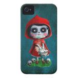 Cráneo rojo del azúcar de la capa con capucha iPhone 4 Case-Mate cárcasa