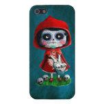 Cráneo rojo del azúcar de la capa con capucha iPhone 5 protector