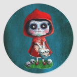 Cráneo rojo del azúcar de la capa con capucha pegatinas redondas