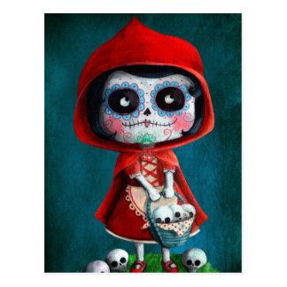 Cráneo rojo del azúcar de la capa con capucha tarjetas postales