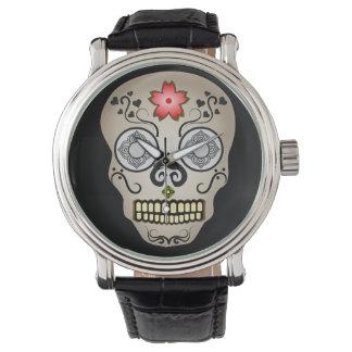Cráneo rojo del azúcar de la flor relojes de mano