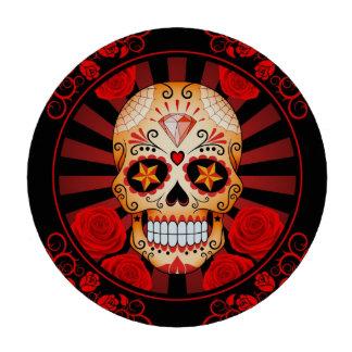 Cráneo rojo del azúcar del vintage con el poster d fichas de póquer