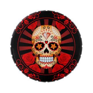 Cráneo rojo del azúcar del vintage con el poster d jarrones de caramelos