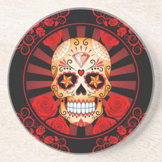 Cráneo rojo del azúcar del vintage con el poster d posavasos cerveza