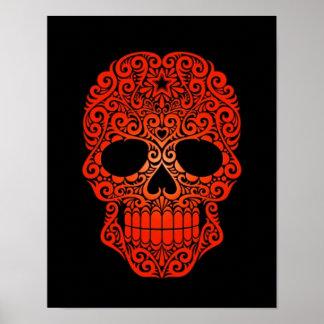 Cráneo rojo del azúcar que remolina en negro poster