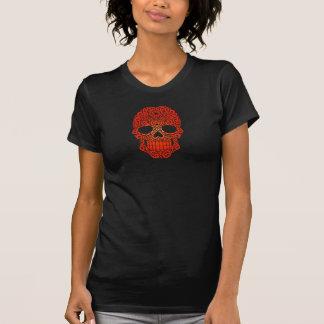 Cráneo rojo del azúcar que remolina camisetas